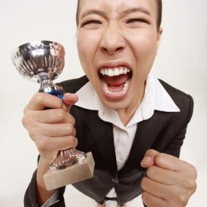 Överlycklig vinnare